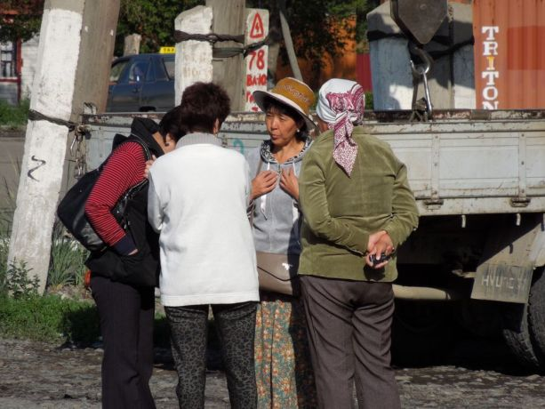 Central Asia: Central Asian women talking together outside More Info