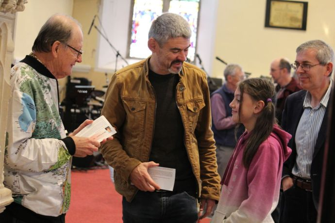 Ireland: George Verwer interacts with members of local Dublin church after service as part of OM Irelands 6015 anniversary event More Info
