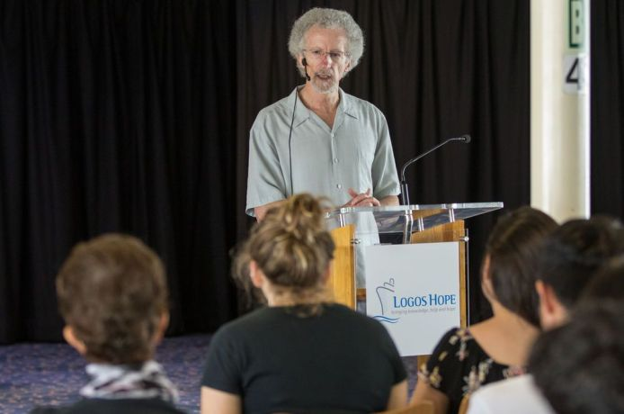 Barbados: Bridgetown, Barbados :: The Christian author, Philip Yancey (USA) gives a seminar to crewmembers on board Logos Hope. More Info