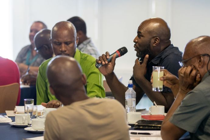 Saint Vincent & the Grenadines: Kingstown, St. Vincent and Grenadines :: A participant asks a question during an event for pastors and leaders. More Info