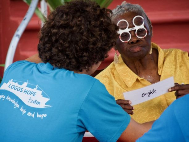 Grenada: Saint Georges, Grenada :: An elderly woman has her eyes tested by one of Logos Hopes crew. More Info
