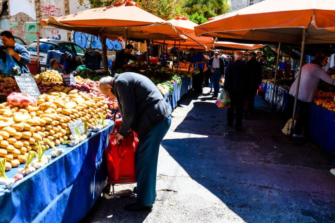 Greece: Fruit stands at a market in Athens, Greece More Info