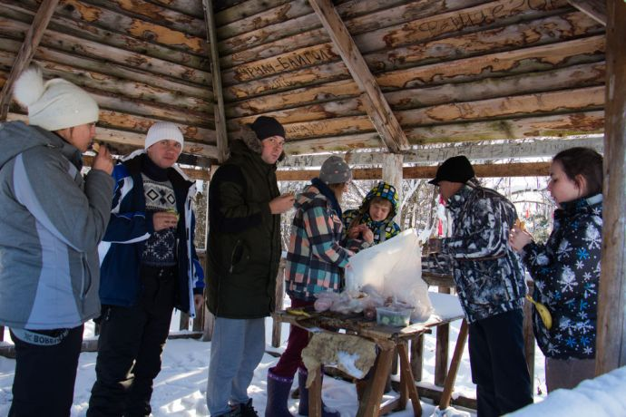 Russia: Little stop for a sandwich on the way to our outreach in a Village in Siberia. More Info