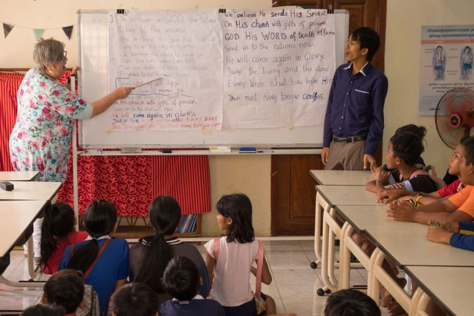 Cambodia: Dara (right) says his work at OM MTI in Cambodia is an opportunity to share Gods love. Photo by Jay More Info