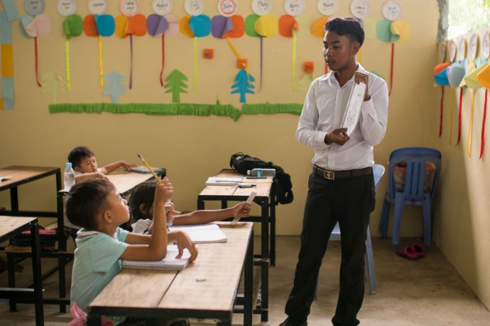 Cambodia: Kosal learned about God while studying English; now he teaches others Gods Word. Photo by Jay More Info