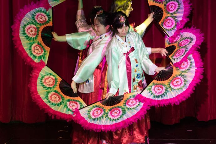 Colombia: Cartagena, Colombia :: Crewmembers perform the Korean fan dance on stage. More Info