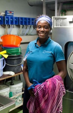 Colombia: Cartagena, Colombia :: Kellie Joseph (Trinidad and Tobago) in the laundry room. More Info