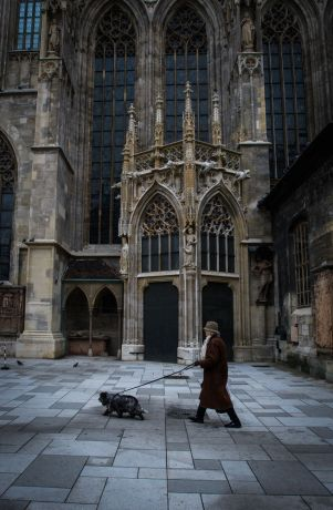 Austria: A woman walks her dog by St. Stephens Cathedral in Vienna Austria.  Photo by Garrett N More Info
