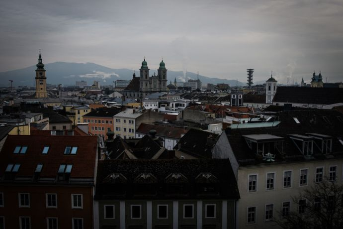 Austria: Overlooking the town of Linz in Austria: the centre with  several churches. More Info