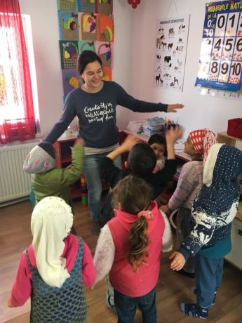 Romania: Anna (DE), our MDT-e3 participant, is playing with the children in Babadag, Romania, at the Star of Hope Day Care Center. More Info