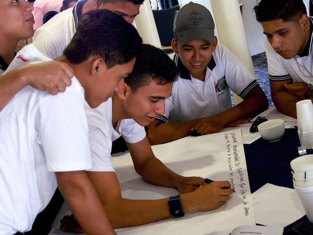 Guatemala: Puerto Barrios, Guatemala :: Students participate in a human trafficking prevention workshop. More Info