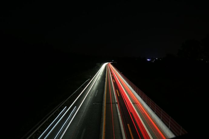 Switzerland: Time lapse of cars on the highway at night. More Info
