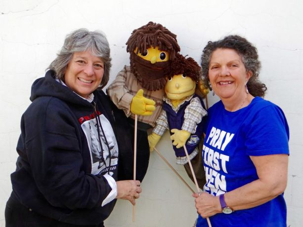 Hungary: Val Campbell with Pioneers (left) and OMer Jill Hitchcock (right) serve together in OM Hungary's children's puppet ministry. The friends have served alongside each other in Hungary for 17 years. More Info