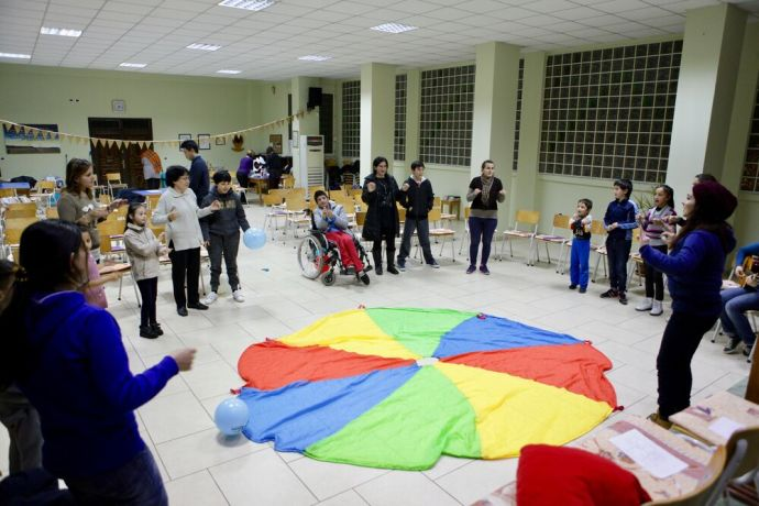 Albania: Song time at Sweet Mess--the evangelistic programme that OM Albania and a local church run for those with special needs and their families. More Info