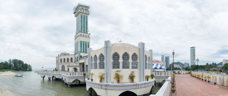 Malaysia: The Tanjung Bungah, or Floating Mosque during a quiet moment. Originally intended to be the new main mosque in Penang, its outlying location did not meet the needs of most people. It is still a popular mosque for many. More Info