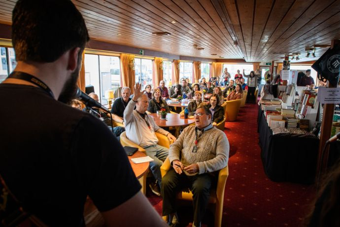 Germany: Worship on the river boat is an integral part of life.  Photo by Garrett N More Info