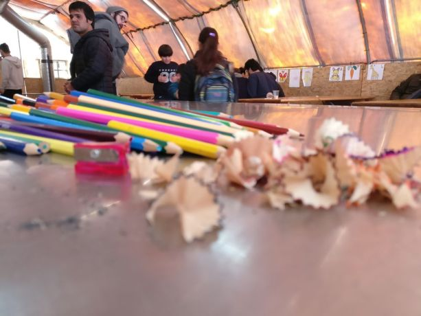 Serbia: Much colouring is done in the OM tent at the refugee camp on the Serbian border More Info