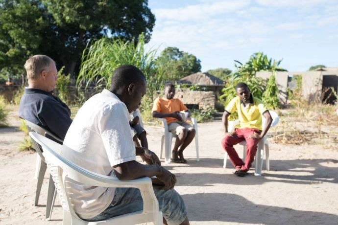 Mozambique: The team in northern Mozambique doing devotions together. More Info