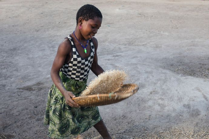 Mozambique: A girl sifts rice in northern Mozambique. More Info