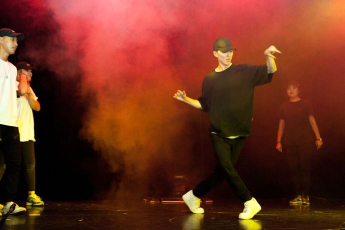 Mexico: Coatzacoalcos, Mexico :: Crewmembers perform Hip Hop dance as part of an onboard event. More Info