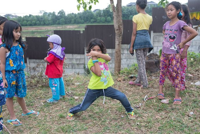 Indonesia: Children playing on the common grounds of a poor village in Indonesia. More Info