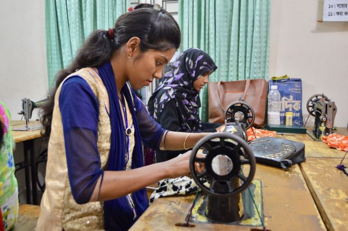 Bangladesh: A tailoring student learns a skill she can use for income while she is also studying the Bible with other ladies as part of a residential training programme in Bangladesh. More Info