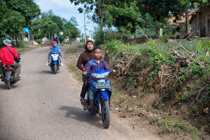 Indonesia: Motorbikes are the main form of transportation for both individuals and families in Indonesia. More Info