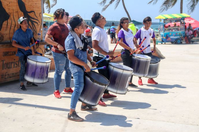 Mexico: Progreso, Mexico :: A group of drummers perform on the street. More Info