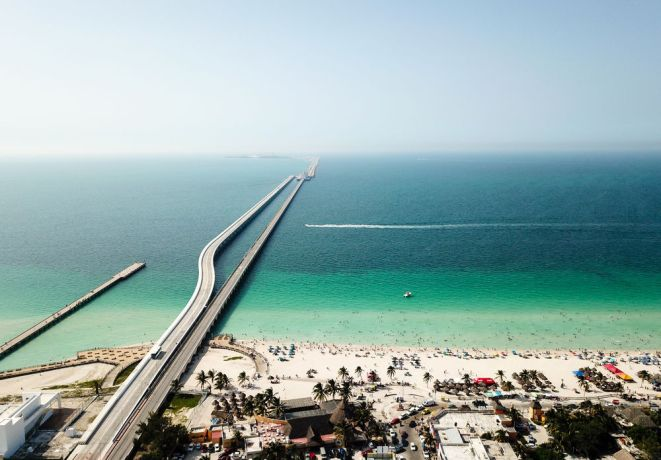Mexico: Progreso, Mexico :: An aerial view of the beach and port area. More Info