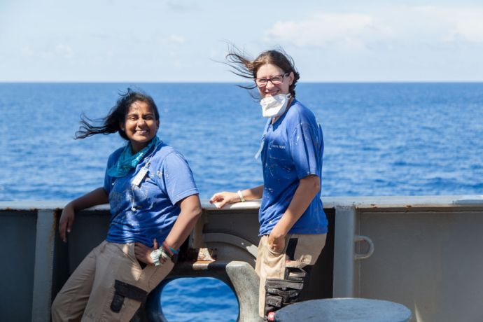Mexico: At Sea :: Serena Pooblan (Sri Lanka) and Kat King (UK) work outside on deck. More Info