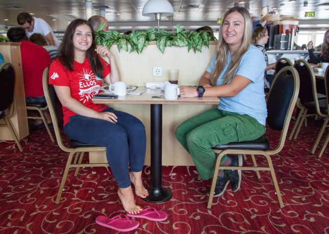 Mexico: At Sea :: Galina Tsirkovnaia (Russia) and Lana Serebrennikova (Western and Central Asia) eat lunch in the dining room. More Info