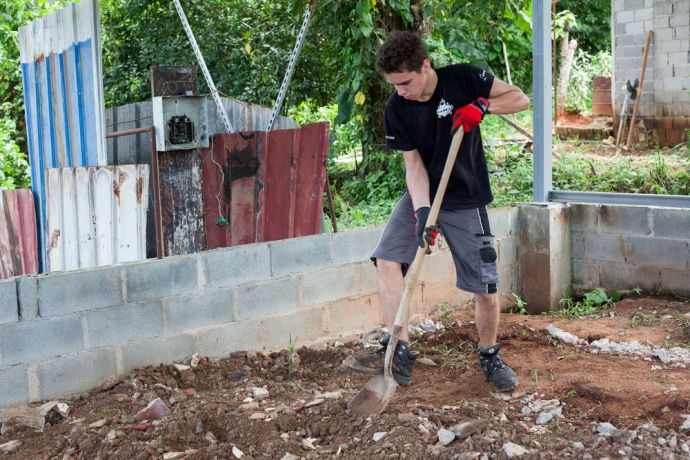 Panama: Balboa, Panama :: Steven Gray (Germany) helps build the foundations of a church. More Info