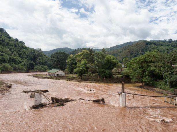 Laos: A collapsed bridge. More Info