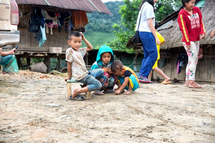 Laos: Children playing in their mountain village. More Info