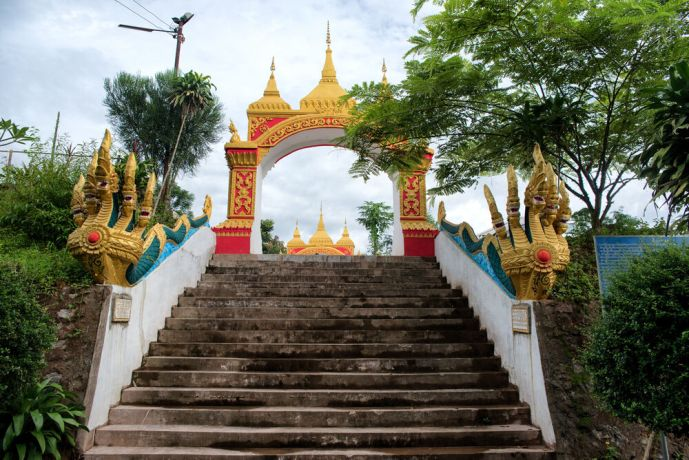 Laos: Entrance to a Buddhist Temple in Laos. More Info