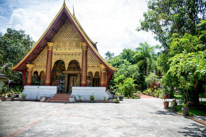 Laos: Structure in a Buddhist temple complex. More Info
