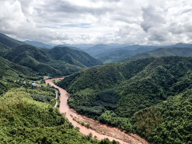 Laos: The Mekong River cutting through a valley. More Info