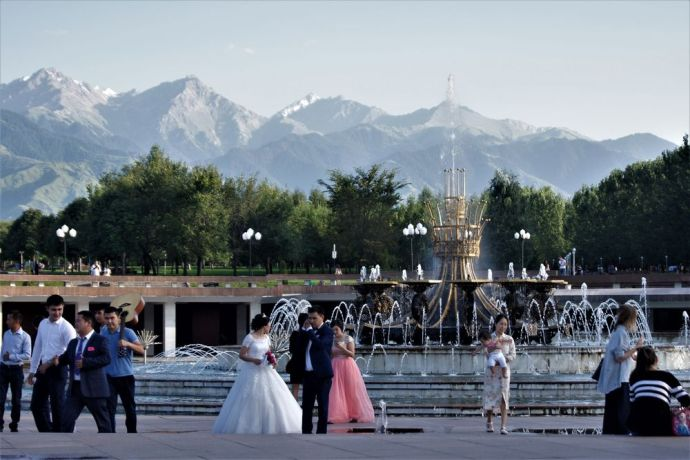 Central Asia: A wedding takes place in a public space. More Info