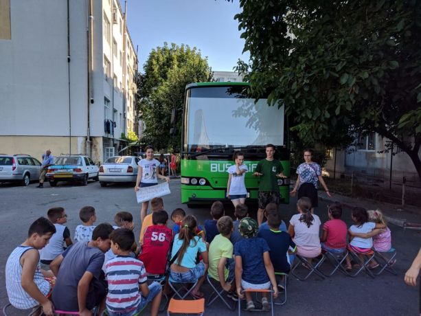 Romania: Romanian children attend a Bus4Life outreach. More Info
