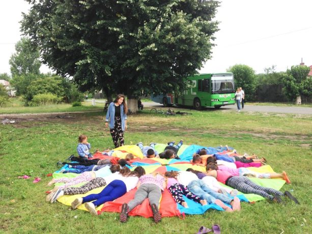 Romania: Children play during a Bus4Life visit in Romania More Info