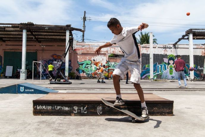 Guatemala: Puerto Quetzal, Guatemala :: A young man skates at Motivo Urbano, a nonprofit that uses skateboarding as a tool to connect with children and young people. More Info