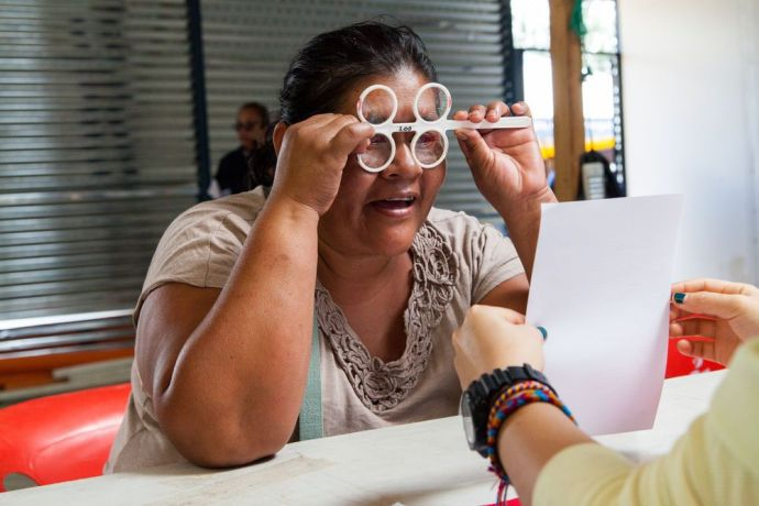 Guatemala: Puerto Quetzal, Guatemala :: Crewmembers from Logos Hope perform free eye tests for a rural community. More Info