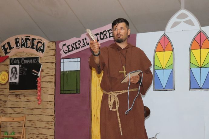 Ukraine: Nikolai Niuniaiev as the Padre during the theatrical evangelism camp for Orphans Zorro More Info