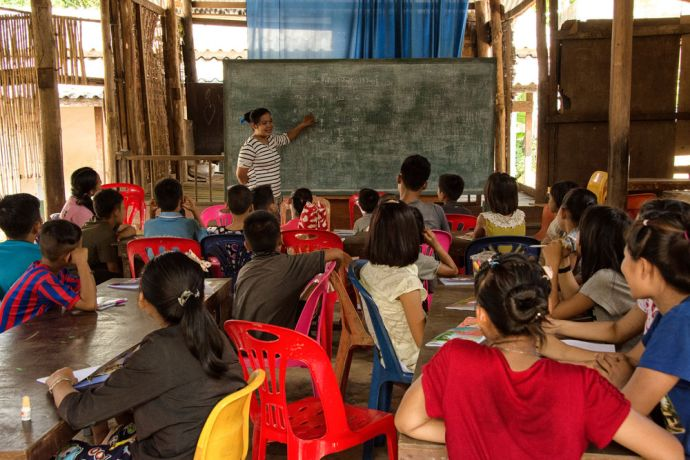 Thailand: Students in class at the School of Mercy, operated by OM MTI for 130 internally displaced Mon and Karen children in a village at the Thailand-Myanmar Border. More Info
