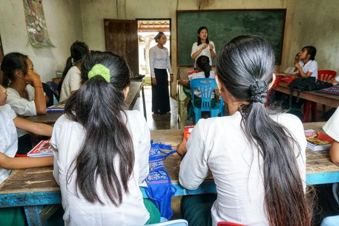 Thailand: Students paying attention in class at the School of Mercy, operated by OM MTI for 130 internally displaced Mon and Karen children in a village at the Thailand-Myanmar Border. More Info