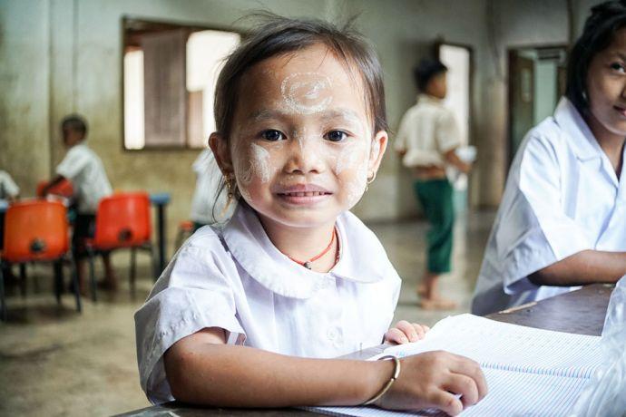 Myanmar: Portrait of a girl in school in Myanmar. More Info