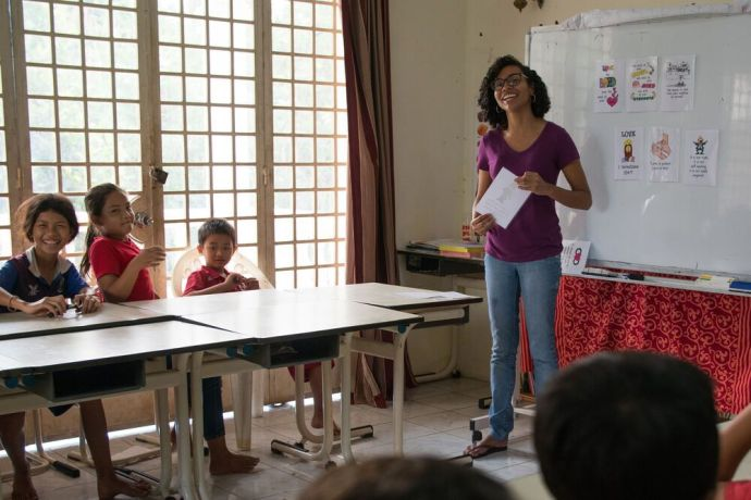 Cambodia: Joelma (Brazil) teaches children at OM MTIs education centre in Pnohm Penh, Cambodia. Photo by Jay More Info
