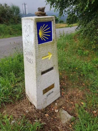 Spain: Sign posts showing the way to Santiago de Compostela, the way of St James. More Info