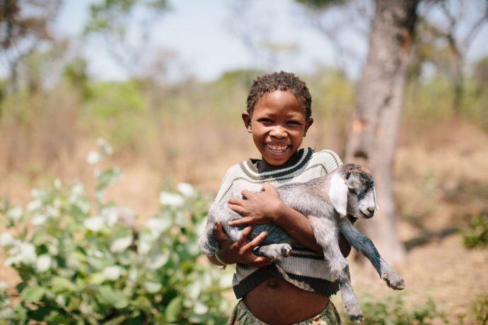 Angola: A Bushmen girl holds a kid( baby goat ). More Info