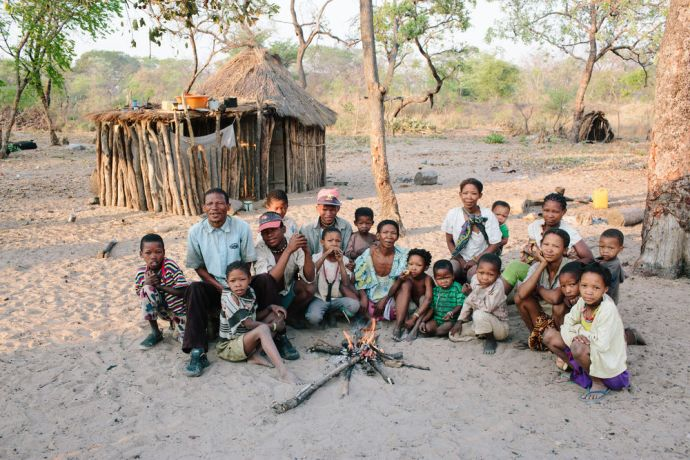 Angola: Bushmen family that live together in the same village. OM Angola is trying to reach out these unreached group people. More Info